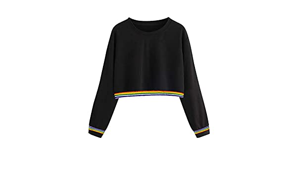 Toraway- Women Fashion Crewneck Crop Top Sweatshirts Pullover Rainbow Casual Lightweight Long Sleeve Jumper Tops Blouse at Amazon Womens Clothing store: