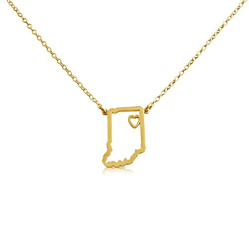 (Azaggi Gold Plated Sterling Silver Handcrafted Home Is Where The Heart Is Indiana State Pendant Necklace)