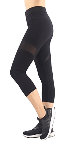 Sugar Pocket Women's Capri Tights Workout Pants Mesh Splice X-Large (Black)