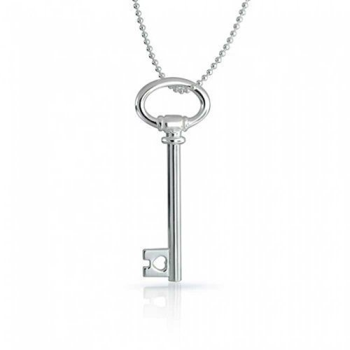 Sterling Key (Bling Jewelry Italian Sterling Silver Large Oval Key Pendant Necklace)