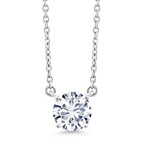 10K White Gold Pendant Solitaire Pendant Necklace Forever Brilliant (GHI) Round 1.20ct (DEW) Created Moissanite by Charles & Colvard
