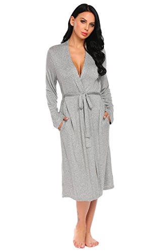 Ekouaer Robes Women Kimono Bathrobes Sleepwear (Gery,X-Large)