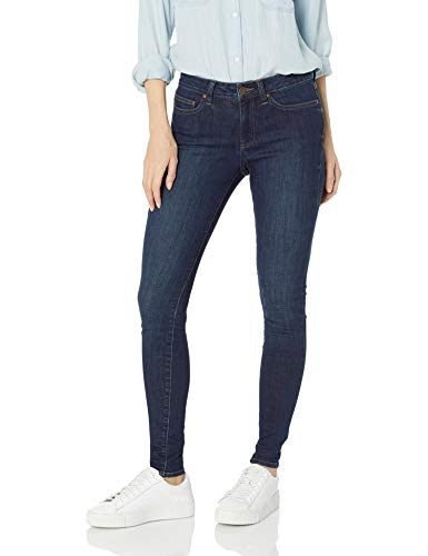 Amazon Brand - Daily Ritual Women's Mid-Rise Skinny Jean, Washed Indigo, 25 (0) Short