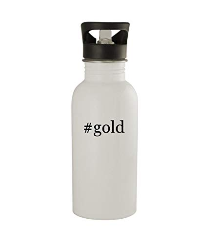 Knick Knack Gifts #Gold - 20oz Sturdy Hashtag Stainless Steel Water Bottle, White