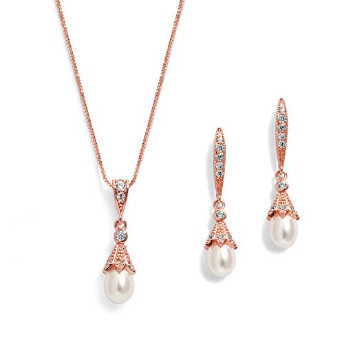 Mariell Rose Gold Wedding Necklace & Earrings Jewelry Set with Freshwater Pearl for Bridesmaids & Brides - Gold Necklace Set Pearls