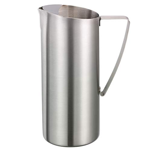 Service Ideas X7025BS Water Pitcher, Stainless Steel, Brushed, 64 oz. (Stainless Steel Water Pitcher With Ice Guard)