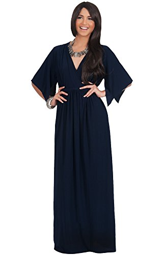 KOH KOH Womens Long Kaftan Short Sleeve Empire Waist Flowy V-neck Elegant Summer Slimming Evening Sexy Designer Maternity Day Maxi Dress, Color Navy Blue, Size Small S 4-6 (1)
