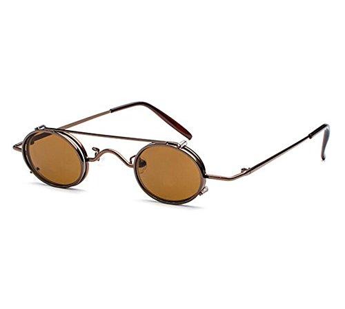 no Marrón y Retro Marrón ovales UV400 estilo hombres hippie punky extraíbles mujeres sol polarizado de vintage gafas TT0nfqU