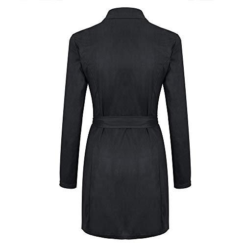 Cher La À Slim L'arc Manteau Décoration Zippé Trench Noir Coat Long Col Femme Hiver Vestes De Chuad Pas Mode Roulé 6nTOvqxZw1