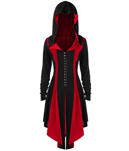 MIGHTYCOS Women's Vintage Medieval Hooded Lace up Dress Cloak Adult Renaissance Gothic High Low Overcoat Halloween Costume (Large, Red) -