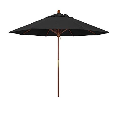 California Umbrella 9' Round Hardwood Frame Market Umbrella, Stainless Steel Hardware, Push Open, Pacifica Black