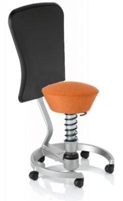 Aeris Swopper Classic - Bezug: Microfaser / Terracotta | Polsterung: Tempur | Fußring: Titan | Spezial-Rollen für Teppichböden | mit Lehne und schwarzem Microfaser-Lehnenbezug | Körpergewicht: SMALL