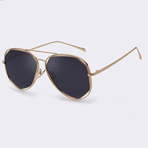 Bastidor en TIANLIANG04 Doppio polarizadas de C01 sol geometría de plata de piernas Moda estilo Gray Gold metal singular aleación gafas C05 gafas de dorado Mujer Ponte de sol RddqxTrw