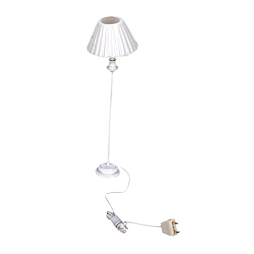9-12V Shell Shade Miniature Floor Lamp Light for 1:12 Dollhouse Miniature by Generic