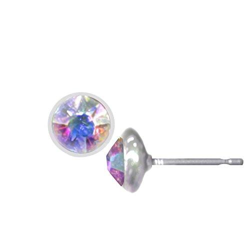 Topwholesalejewel Wedding Earrings Silver Aurora Borealis Pierced Stud Earrings