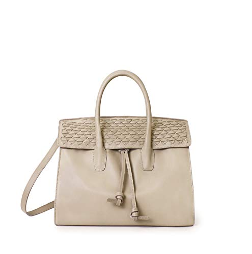 Signature Drawstring Handbag - PALMA small beige leather tote handbag purse with a signature woven design on afront flap