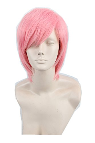 Topcosplay Women's Short Straight Fluffy Layered Fiber Cosplay Wig Hair Pink (Adult Short Pink Wig)