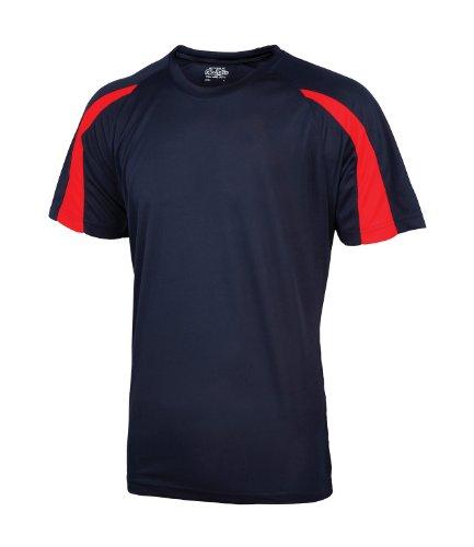 AWDis Herren T-Shirt Blau French Navy / Fire Red