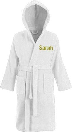 Personalised Childrens Hooded Toweling Bathrobe Kids Dressing Gown