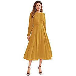 Milumia Women's Elegant Frilled Long Sleeve Pleated Fit & Flare Dress Medium Yellow