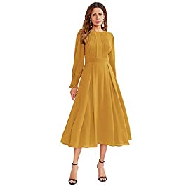 Milumia Women's Elegant Frilled Long Sleeve Pleated Fit & Flare Dress