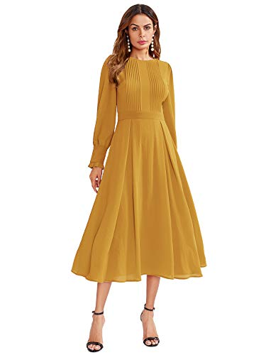Milumia Women's Elegant Frilled Long Sleeve Pleated Fit & Flare Dress X-Large Yellow