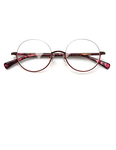 Komehachi - Vintage Retro Round Under Semi Rimless Unisex Women Clear Lens Eyeglasses Frames RX-Ready - Frame Under Glasses