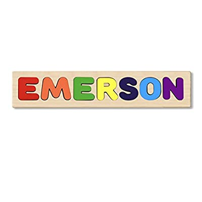 Wooden Personalized Name Puzzle - Choose up to 12 Letters. Learning Educational Toys - Emerson: Toys & Games