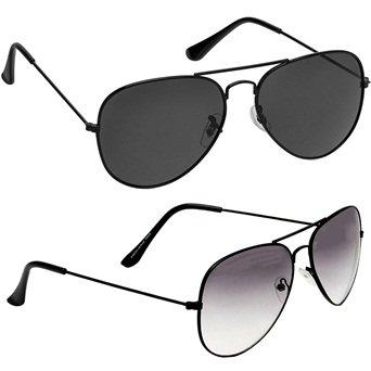 f18b69e6a43 Sheomy Unisex Sunglasses Combo Pack of Black White Sun glasses and Full  Black Avaitor Glasses Sun