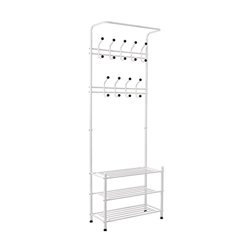 Mvpower Metal Entryway Storage Bench With Coat Rack Corner