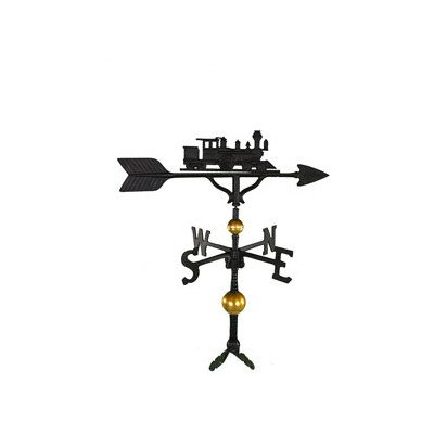 Montague Metal Products 32-Inch Deluxe Weathervane with Satin Black Train Ornament (Train Lawn Ornament)