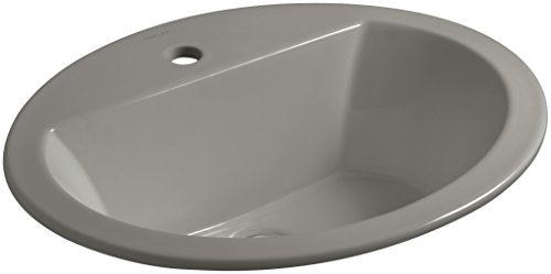 KOHLER K-2699-1-K4 Bryant Oval Drop-In Bathroom Sink with Single Faucet Hole, Cashmere, Cashmere