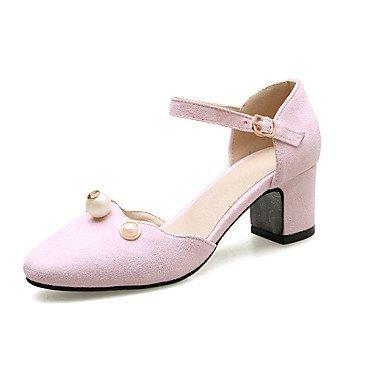 LvYuan Mujer-Tacón Bajo-D'Orsay y Dos Piezas-Sandalias-Boda Oficina y Trabajo Vestido Informal Fiesta y Noche-Semicuero-Negro Rosa Gris Pink