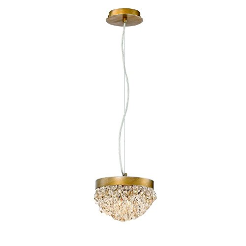 Eurofase Lighting Contemporary Chandelier - Eurofase Mondo Clustered Orb Chandelier, Antique Gold Finish, Cognac and Clear Crystals, 2 G9 Light Bulbs, 8.25 Inches in Diameter-Model 31828-017