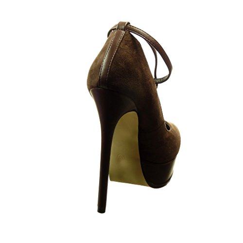 Angkorly - Scarpe da Moda scarpe decollete zeppe sexy donna gioielli d'oro Tacco Stiletto tacco alto 14 CM - Marrone