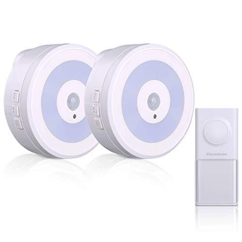 Wireless Doorbell, Waterproof Door Bell Chime Kit with 2 Plug-in Receivers,58 Melodies Chimes,4 Volume Levels,Night Light and LED Indicator,No Battery Required