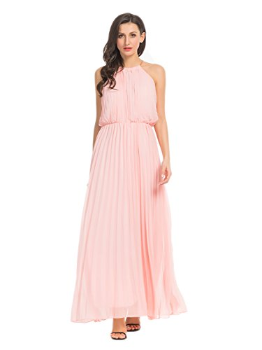 Persun Women's Open Shoulder Cut Out Back Pleated Chiffon Sleeveless Maxi Dress Pink Large