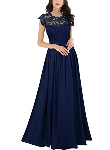Miusol Women's Formal Floral Lace Evening Party Maxi Dress (Medium, Navy Blue)