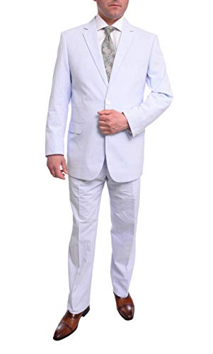 50l Suit - Emigre Classic Fit Blue Pinstriped Two Button Cotton Seersucker Suit-50L