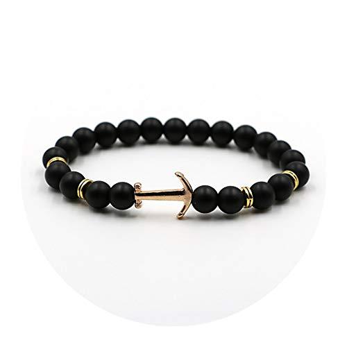 Cyan mango New Gold Colors Anchor Arrow White Black Onyx Lava Beads Bracelet for Women Men Bangles Jewelry,F