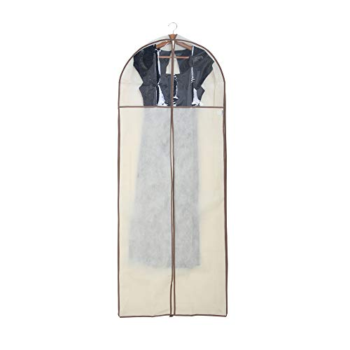 Smart Design Gusseted Gown Garment Bag w/ Clear Window - Includes Zipper Closure & Travel Loop - for Gowns, Coats, & Pants Storage Organization - (24 x 62 Inch) -
