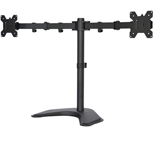 MountDIY Dual Monitor Stand Free Standing Desktop Adjustable Height Mount With Grommet Base For 13-27 Inch LCD or LED Screens (Support VESA 75 & 100, Full Motion, Tilt, Swivel, Rotate, ()