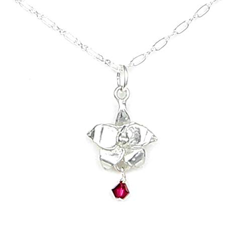 (July Larkspur Flower Necklace with Birthstone Ruby Colored Crystal 20