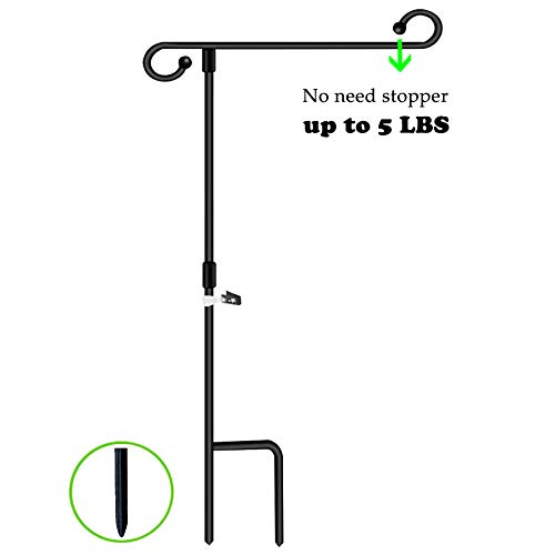 Garden Flag Stand Holder Pole 0.24 Inch Diameter and Weighs 1.1 Pound With Stopper and Anti Wind Clip Holds Flags Up To 14.5
