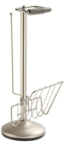 Better Living Products 54566 Toilet Caddy Tissue Dispenser with Magazine Rack, Satin Nickel Toilet Paper Caddy