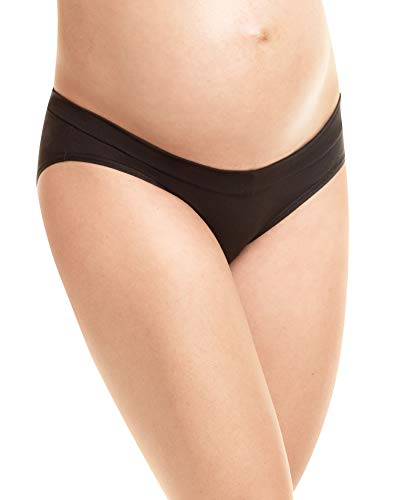 Playtex Women's Maternity V-Front Hipster Panties 3-Pack, Crystal Grey Heather/Cafe Blue Lait/Black, Large