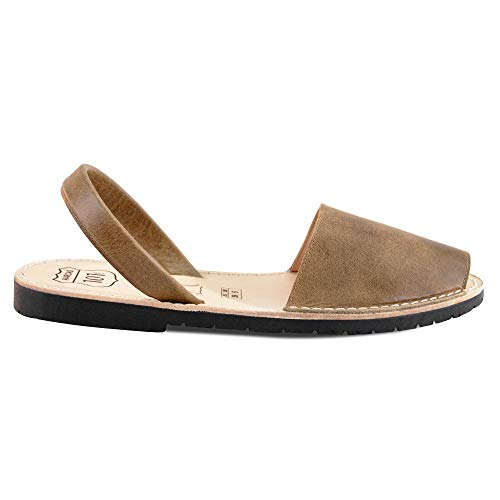 Avarcas Sandals for Women - Handmade in Spain with Natural Leather- Slip on/Slingback Flats (US 9 (EU 39), Taupe)