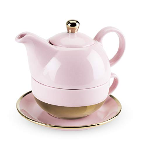 Pinky Up 5064 Addison Pink and Gold Tea-For-One Sets,
