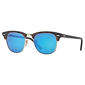 New Ray Ban Clubmaster Flash RB3016 114517 Tortoise/Grey Mirror Blue 49mm Sunglasses