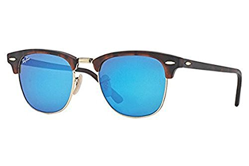 New Ray Ban Clubmaster Flash RB3016 114517 Tortoise/Grey Mirror Blue 49mm - New Ban Ray Sunglasses Clubmaster